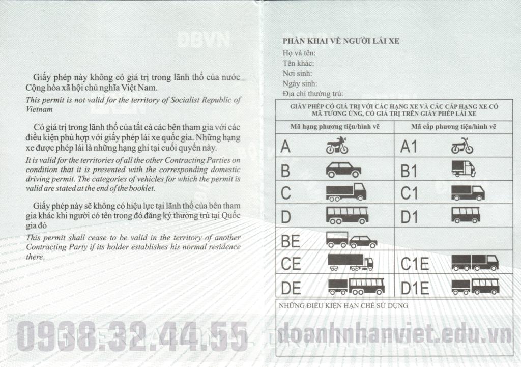 Mẫu bằng lái xe quốc tế IDP