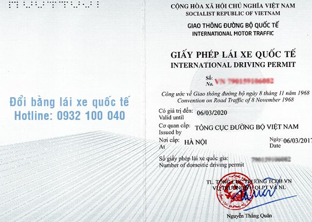 Mặt ngoài mẫu giấy phép lái xe quốc tế do Việt Nam cấp