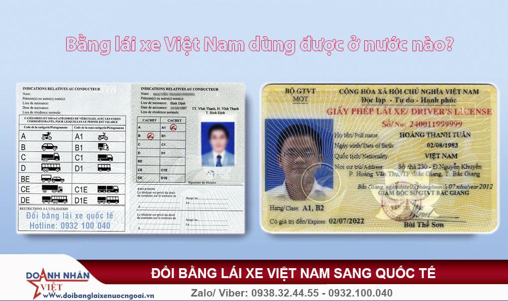 Bằng lái xe Việt Nam dùng được ở những nước nào