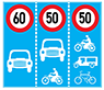 Biển ghép tốc độ tối đa cho phép theo phương tiện, trên từng làn đường