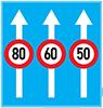 Biển báo cấm biển ghép tốc độ tối đa cho phép trên từng làn đường