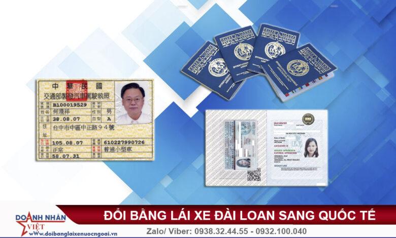 Đổi bằng lái xe Đài Loan sang quốc tế