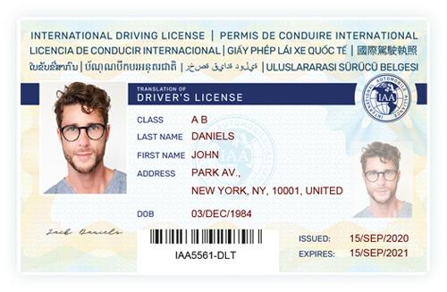 Mẫu giấy phép lái xe quốc tế IAA