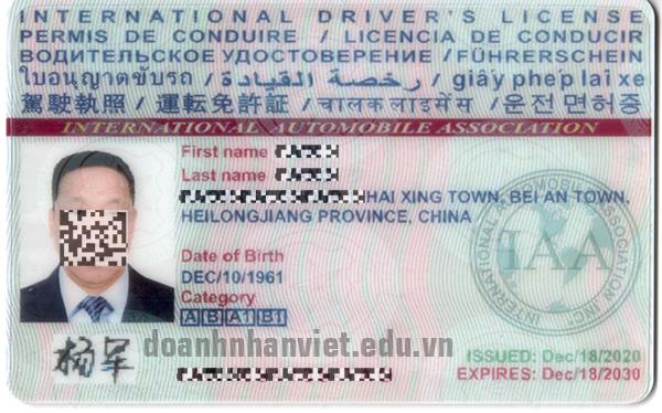 Hình ảnh bằng lái xe quốc tế IAA