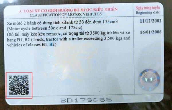 Kiểm tra bằng lái xe bằng mã qr