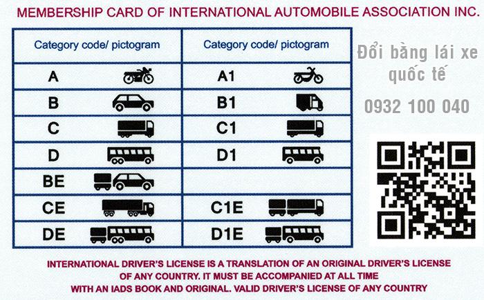 Mặt sau mẫu bằng lái xe Quốc Tế IAA
