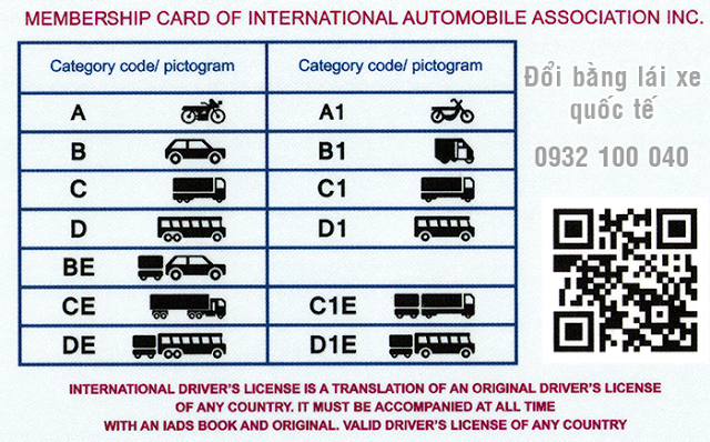 Mặt sau bằng lái xe quốc tế