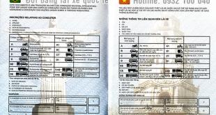 Mặt thông tin mẫu bằng lái xe Quốc Tế