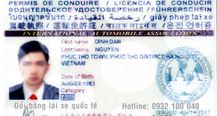 Mặt trước mẫu bằng lái xe Quốc Tế IAA
