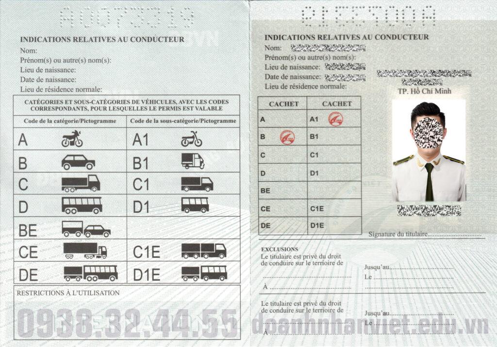 Mẫu bằng lái xe quốc tế Tổng Cục Đường Bộ