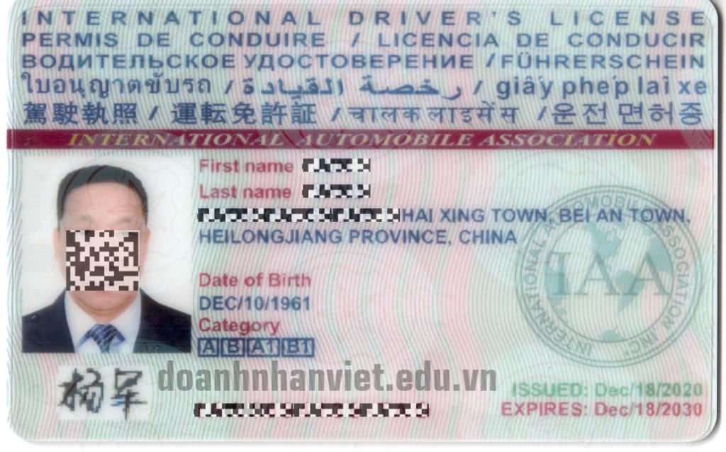 Mặt trước bằng lái xe quốc tế IAA