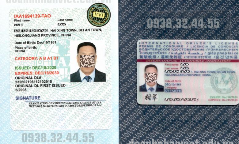 Mẫu bằng lái xe quốc tế IAA