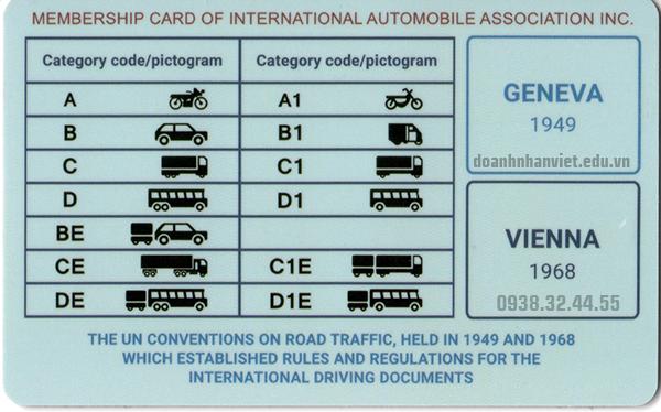 Mặt sau bằng lái xe quốc tế IAA